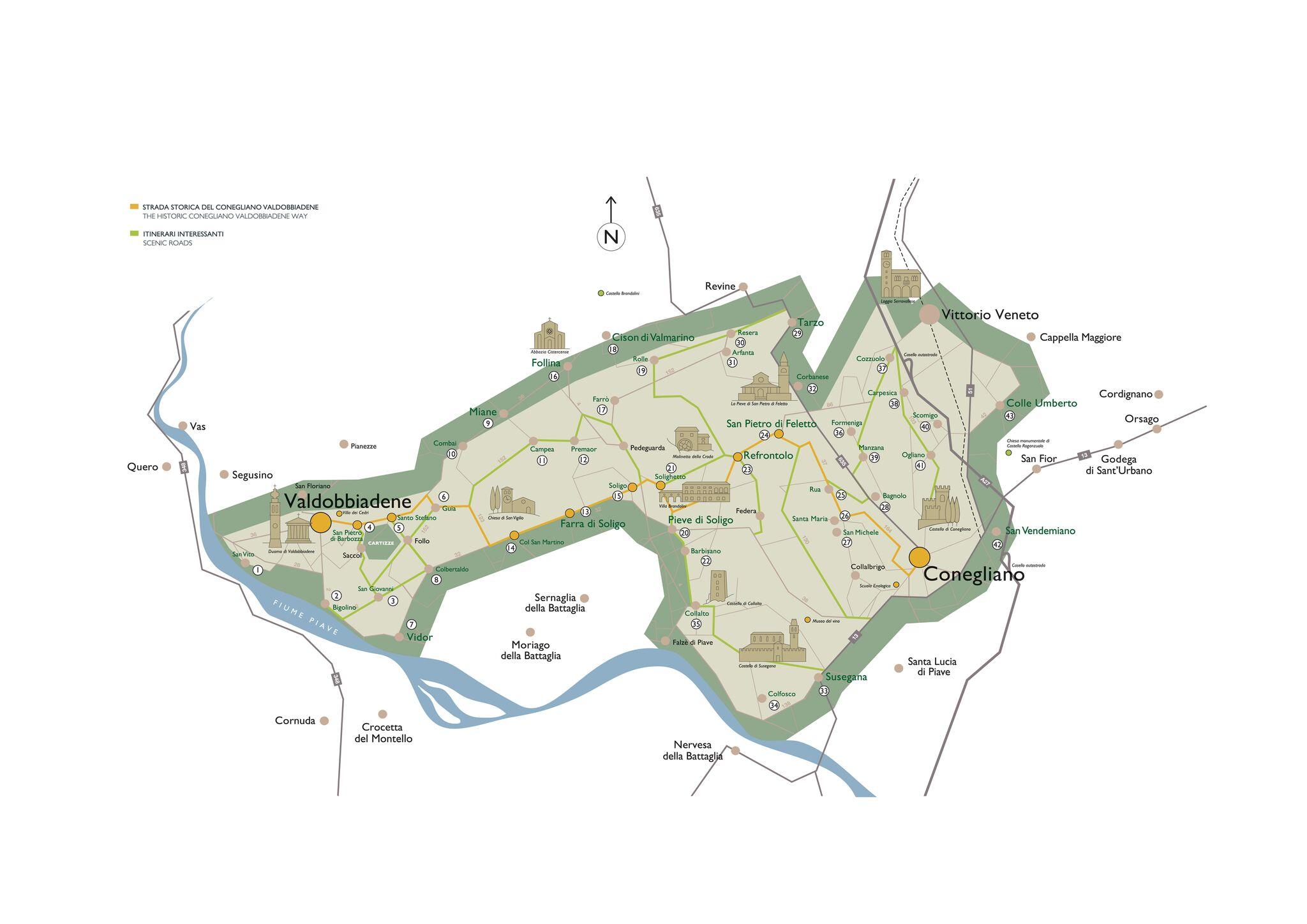 Prosecco on the map (Image: Prosecco Superiore DOCG)
