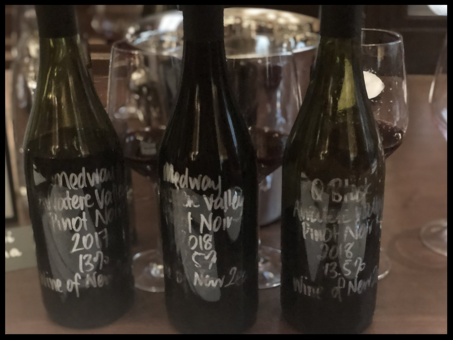 Barrel samples of Pinot Noir Blocks (2017 and 2018) fermented using varied techniques (Image: Sumita Sarma)
