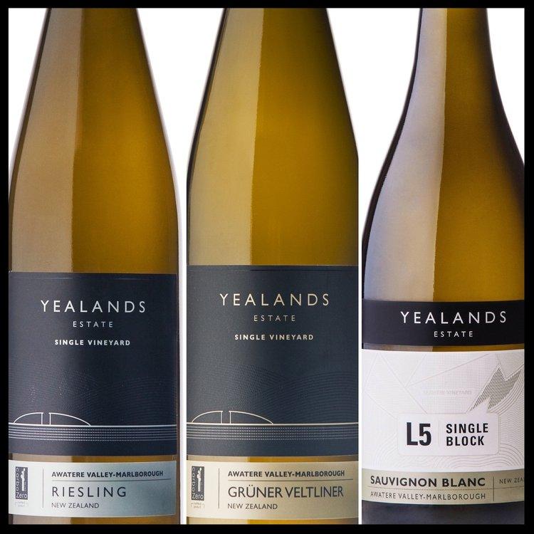 Yealands Single Varietal Gruner Veltliner, Riesling & L5 Single Block Sauvignon Blanc (Image: Yealands)