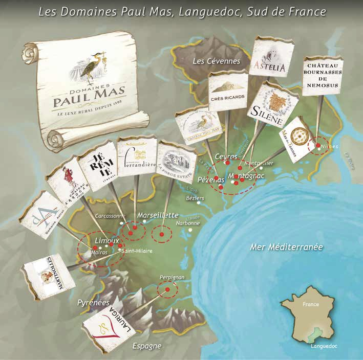 Chateaux at Paul Mas wrapping up Mediterranean from the west that moderates temperatures (Image: Dom Paul Mas)