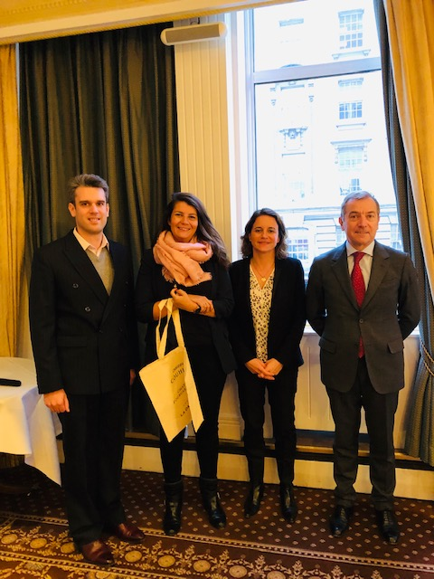 From left to right, Romain Baillou (Chateau Couhins), Marion Merker (Chateau de la Dauphine), Caroline Artaud and Renaud Momméja (Chateau Fourcase Hosten) in London to present on Sustainability and Tourism for the Modern Bordeaux (Image : Philips-Hill PR)