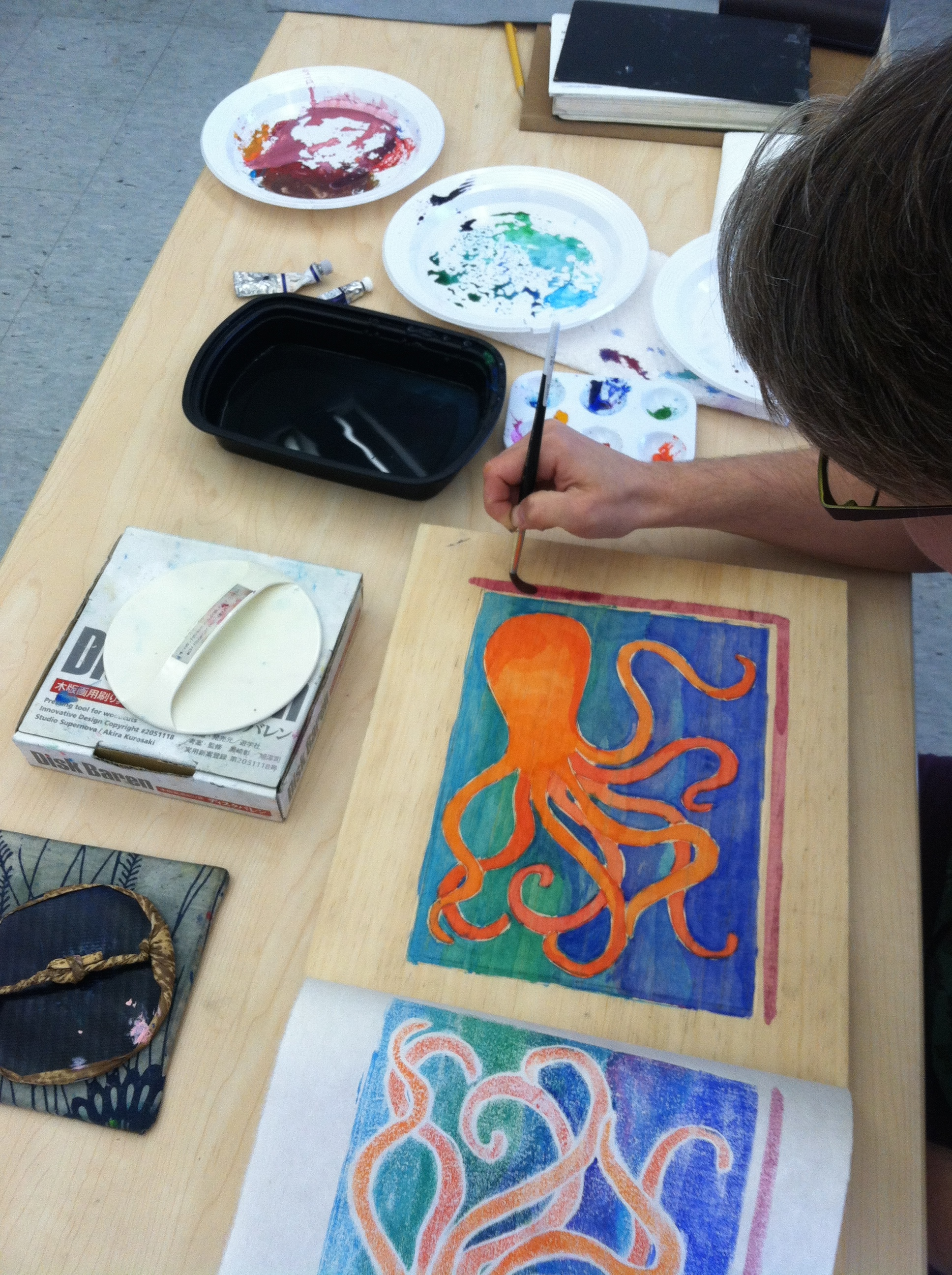 Katy's octopus with painterly watercolor background added.
