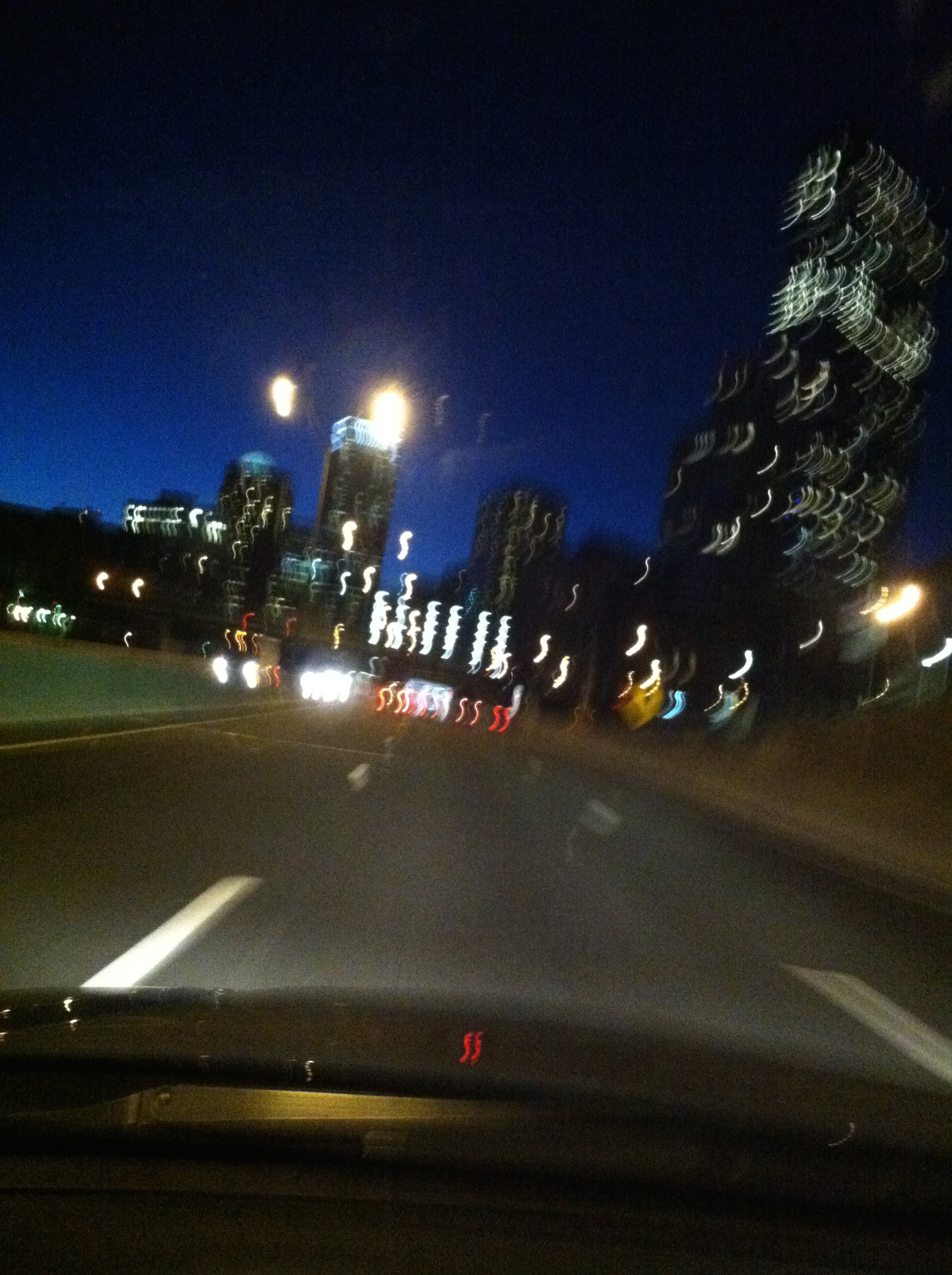 Driving home on the Massachusetts Turnpike after a long day at the studio.