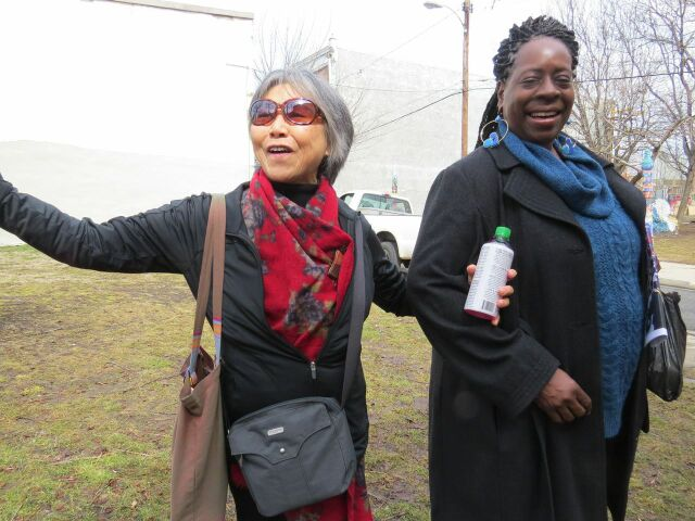 Lily Yeh and Patricia Edwards, who became involved in theater through the Village of Arts and Humanities.