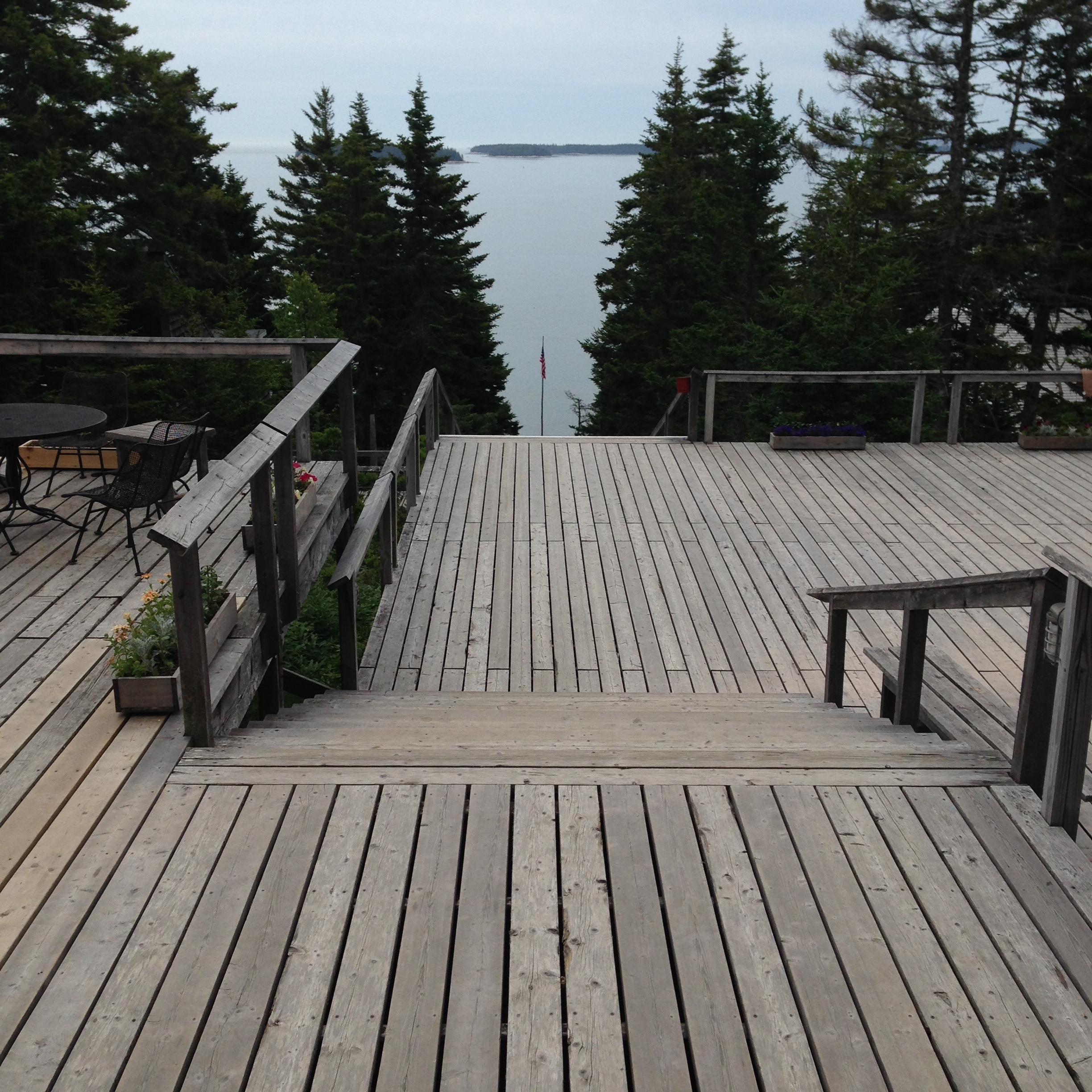 The view from the top deck at Haystack Mountain School of Crafts