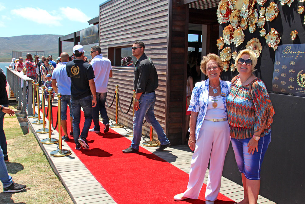 Executive Mayor of the Overstrand Municipality, Nicolette Botha-Guthrie with Penny Streeter OBE on the red carpet.