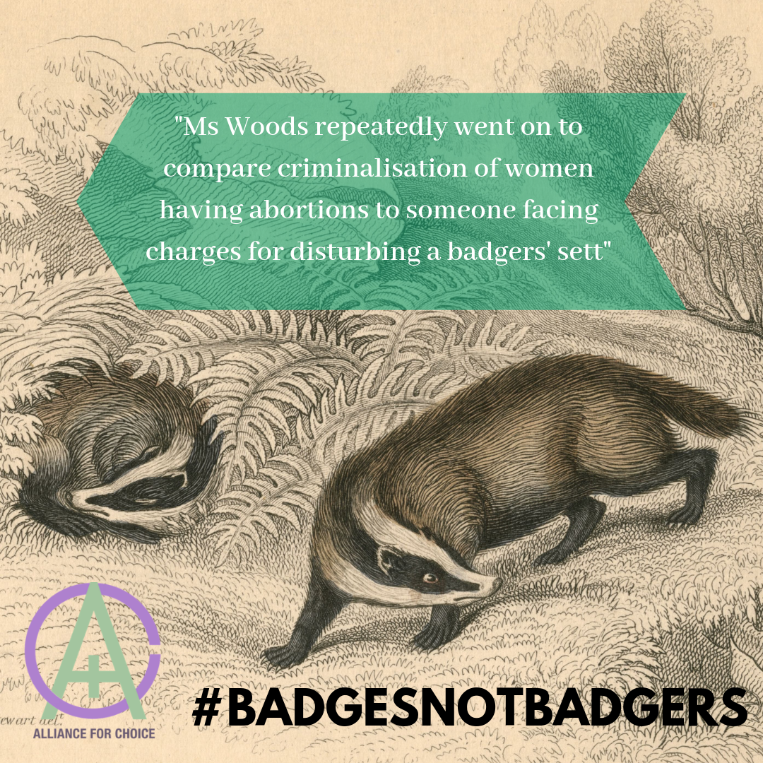 Image shows illustration of badgers with AfC logo, a quote from the WEC Chair, Maria Miller to stop talking about badges and the hashtag #BADGESNOTBADGERS