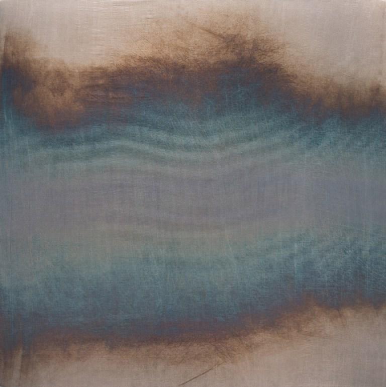 Miya Ando,  Tide 3  ,2016,Patina on Woven Silver, 53.5 x 53.5 Inches