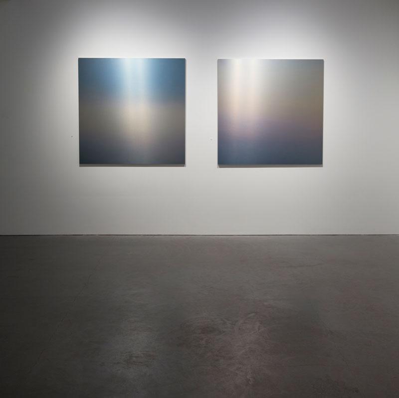 "Miya Ando: Evening San Francisco, 2014, dye on aluminum, 48 x 48"" each"