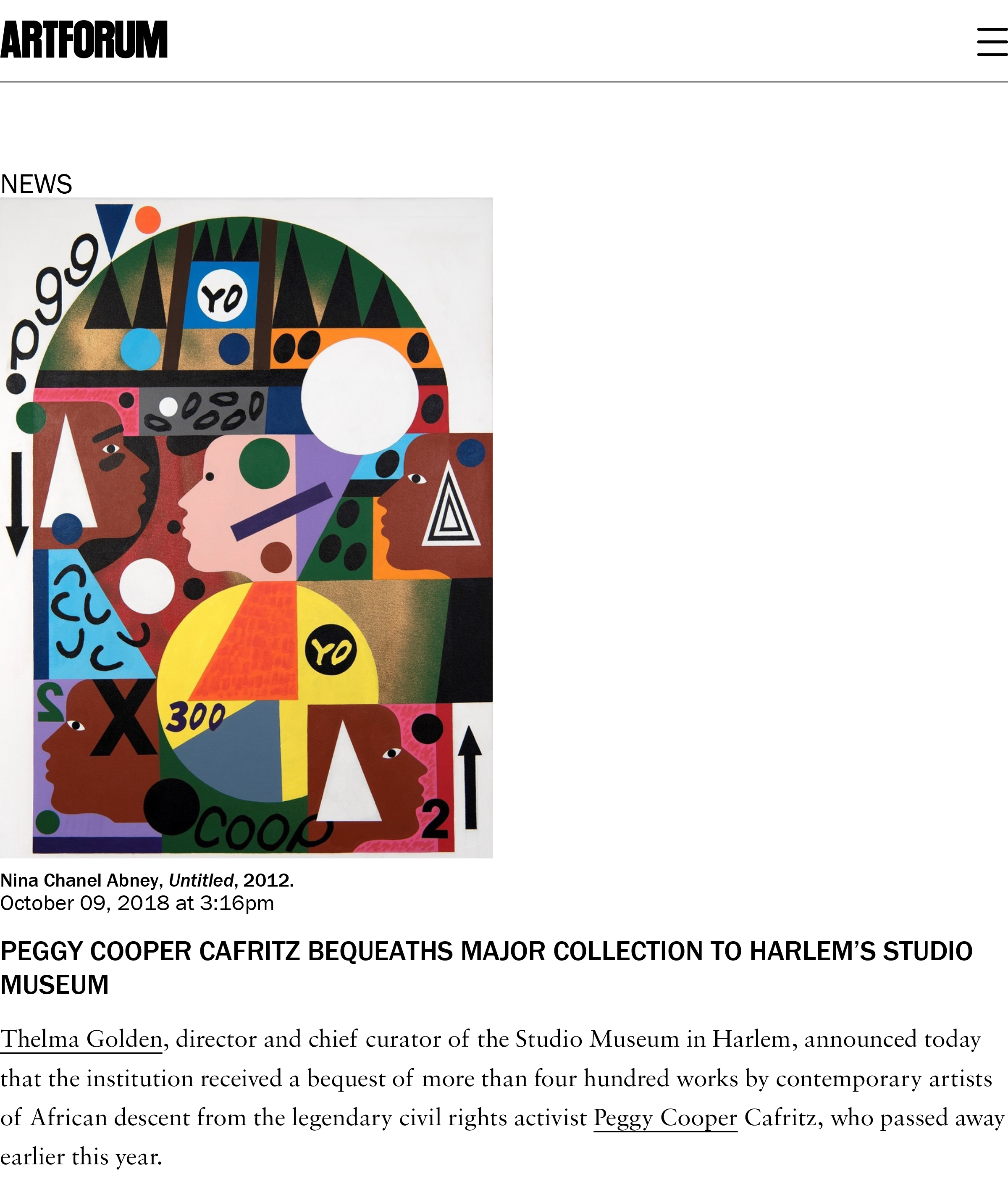 ARTFORUM Peggy Cooper Cafritz Bequeaths Major Collection to Harlem's Studio Museum - Artforum International-1.jpg