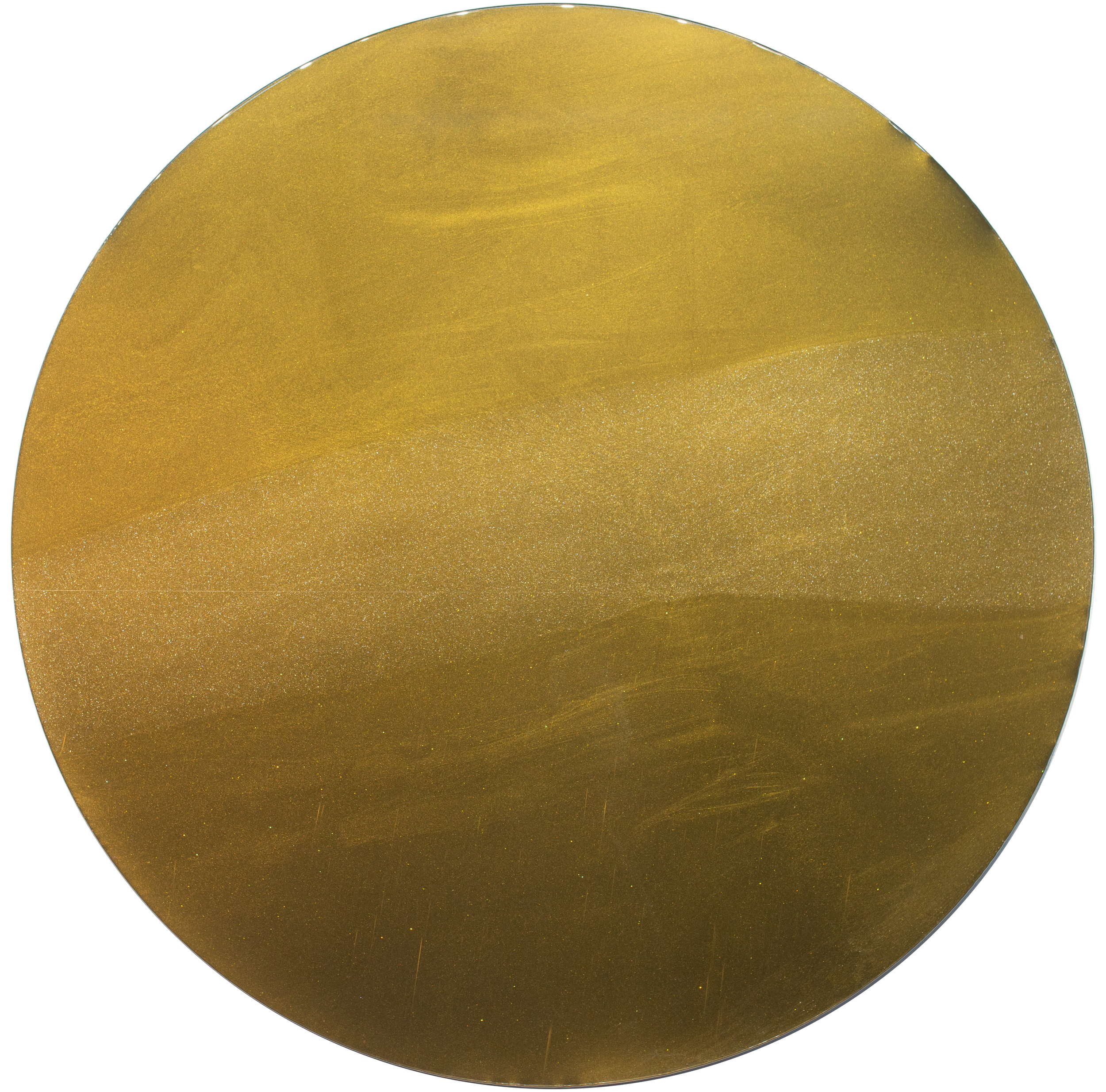 """Full Moon"", 24 k gold, pigment, urethane, resin, stainless steel, 47.5 inches, 2019"
