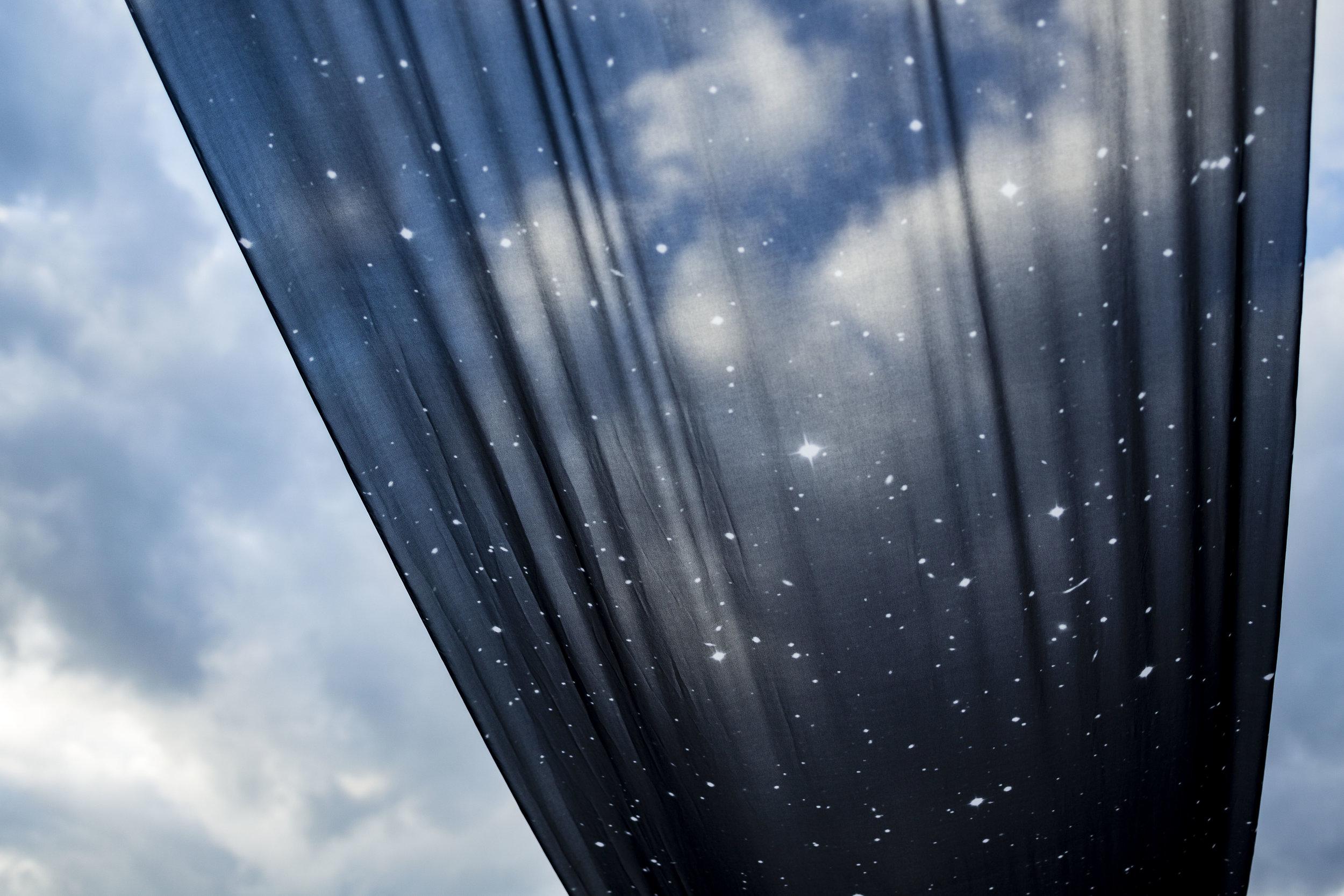 銀河 Ginga (The Silver River in Heaven) printed fabric, stainless steel 58 x 2400 inches