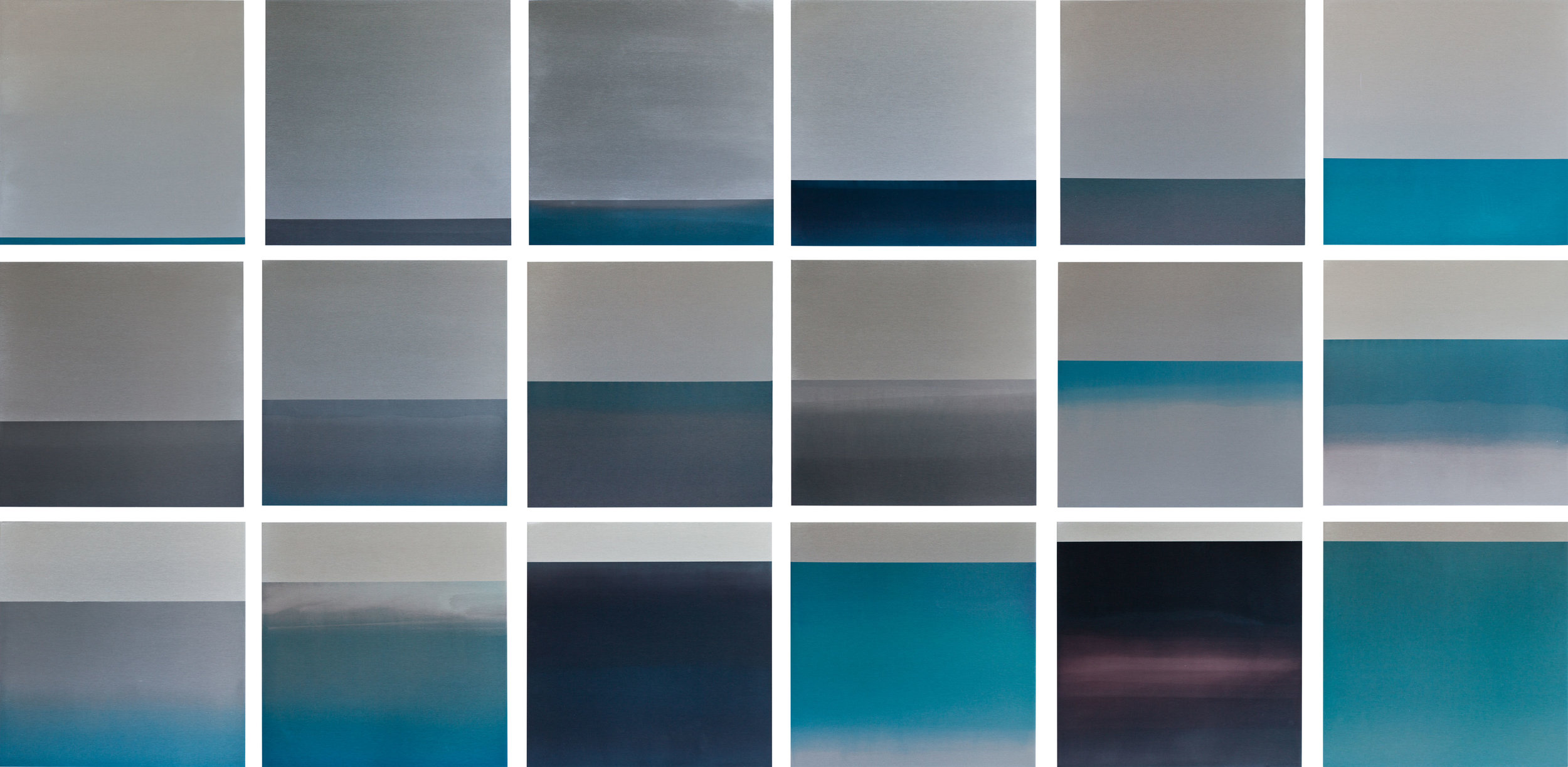 TIDES, 2011 WATER, DYE, ANODIZED ALUMINUM 36 X 72 INCHES (EACH PANEL 12X12 INCHES)