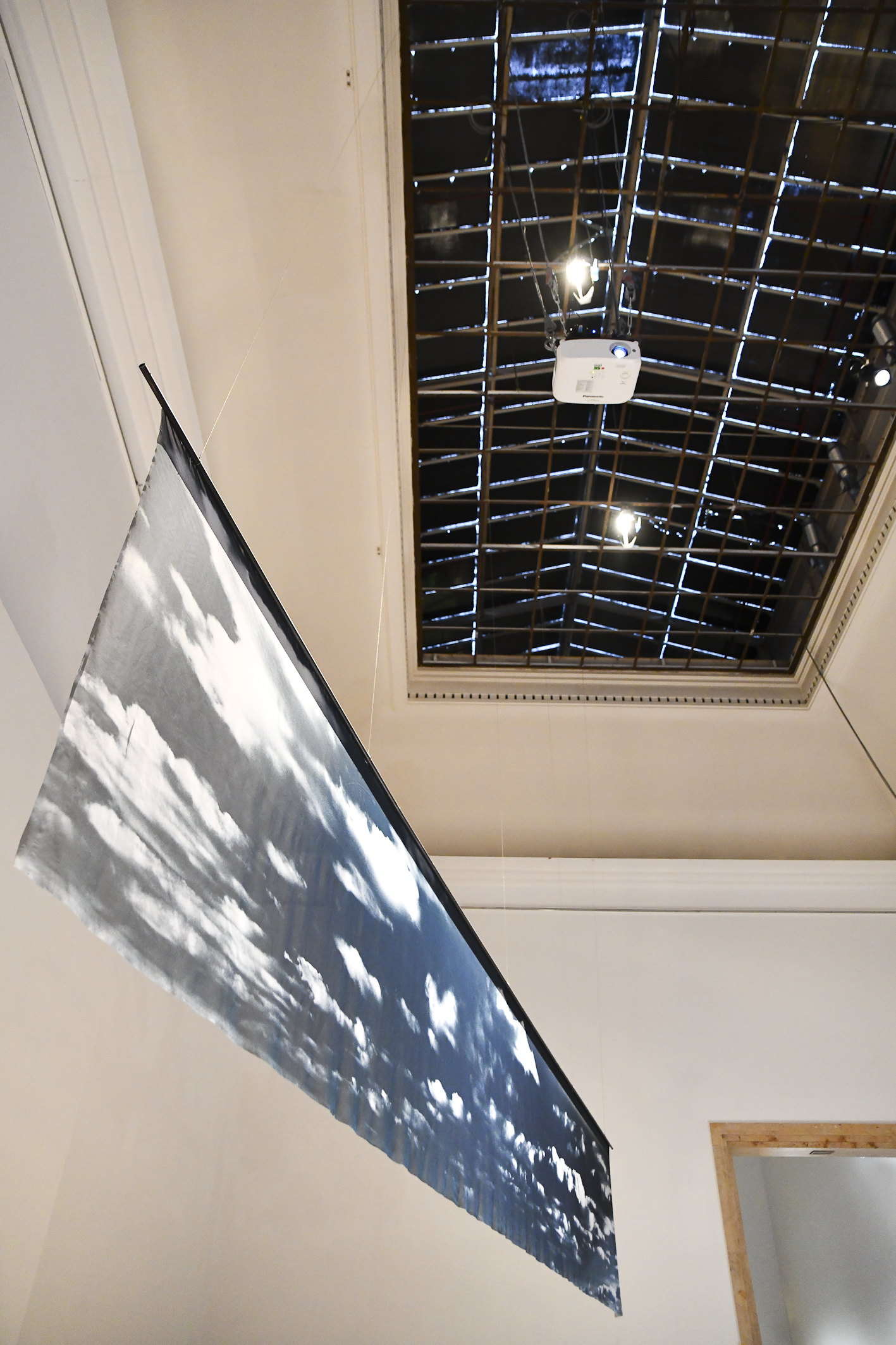"""DEAD OF NIGHT (MOONLIT CLOUDS, UNCHARTED LANDS AND OTHER SLEEPING BEAUTIES)"" MUNICH BIENNALE 2019 PRINTED FABRIC, STAINLESS STEEL 58 x 365 inches"