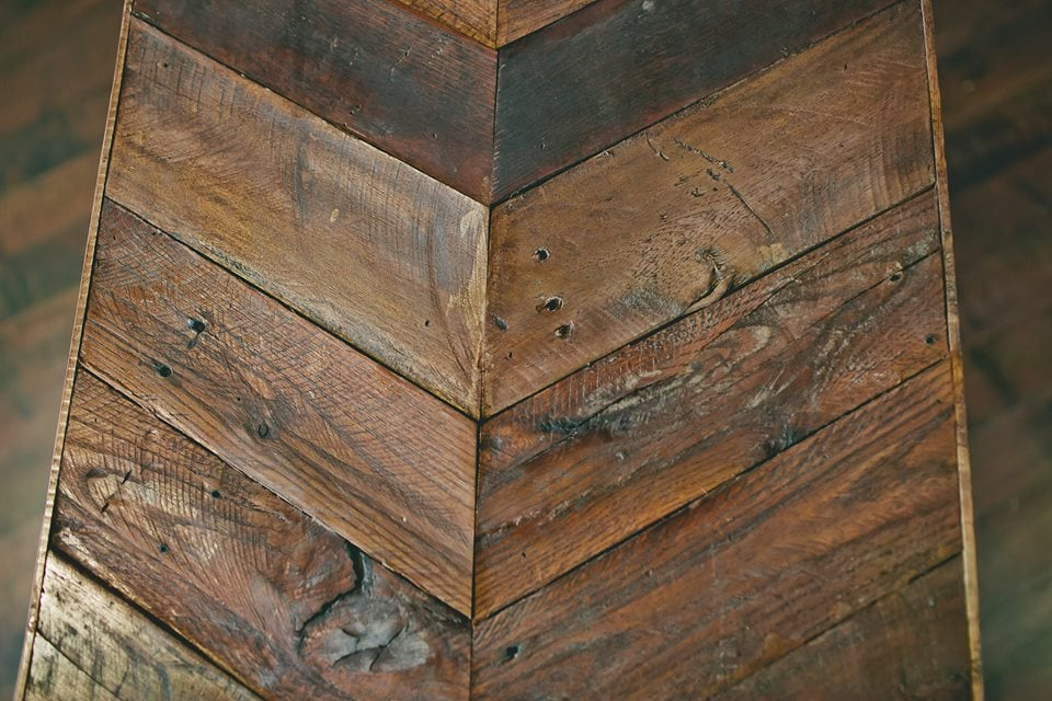 Chevron Reclaimed Coffee Table top - $75  Top Only. With Base -