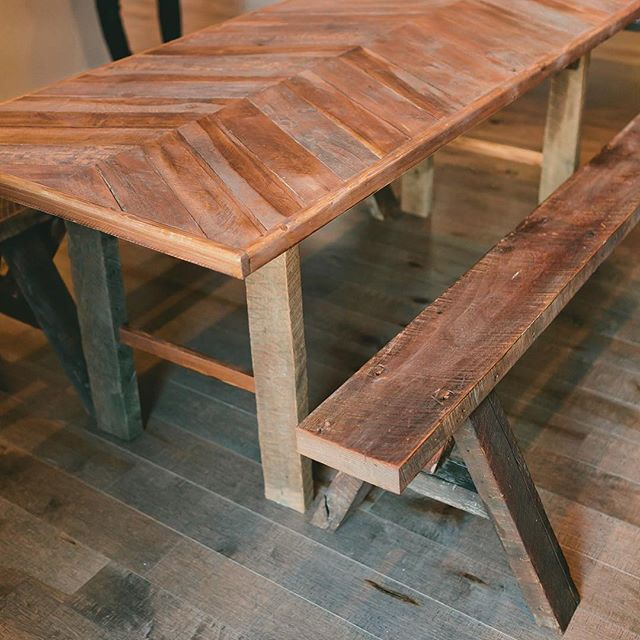 One of a kind made for @fancyandstaple a while back. Can't wait to see it again someday.  #handmade #woodworking #reclaimedwood #reclaimedwoodfurniture #reclaimed #carpentry #helm #helmwoodcraft #aframe #table #bench #custom #giftshop