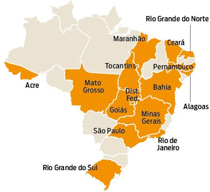 Amarelo: Estados com isenção do ICMS de energia solar. Fonte: Confaz. Infografia: Gazeta do Povo.
