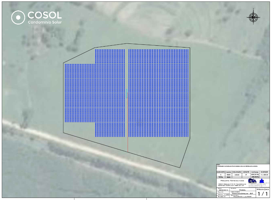 Plano da engenharia da usina fotovoltaica - Fernandopolis, SP