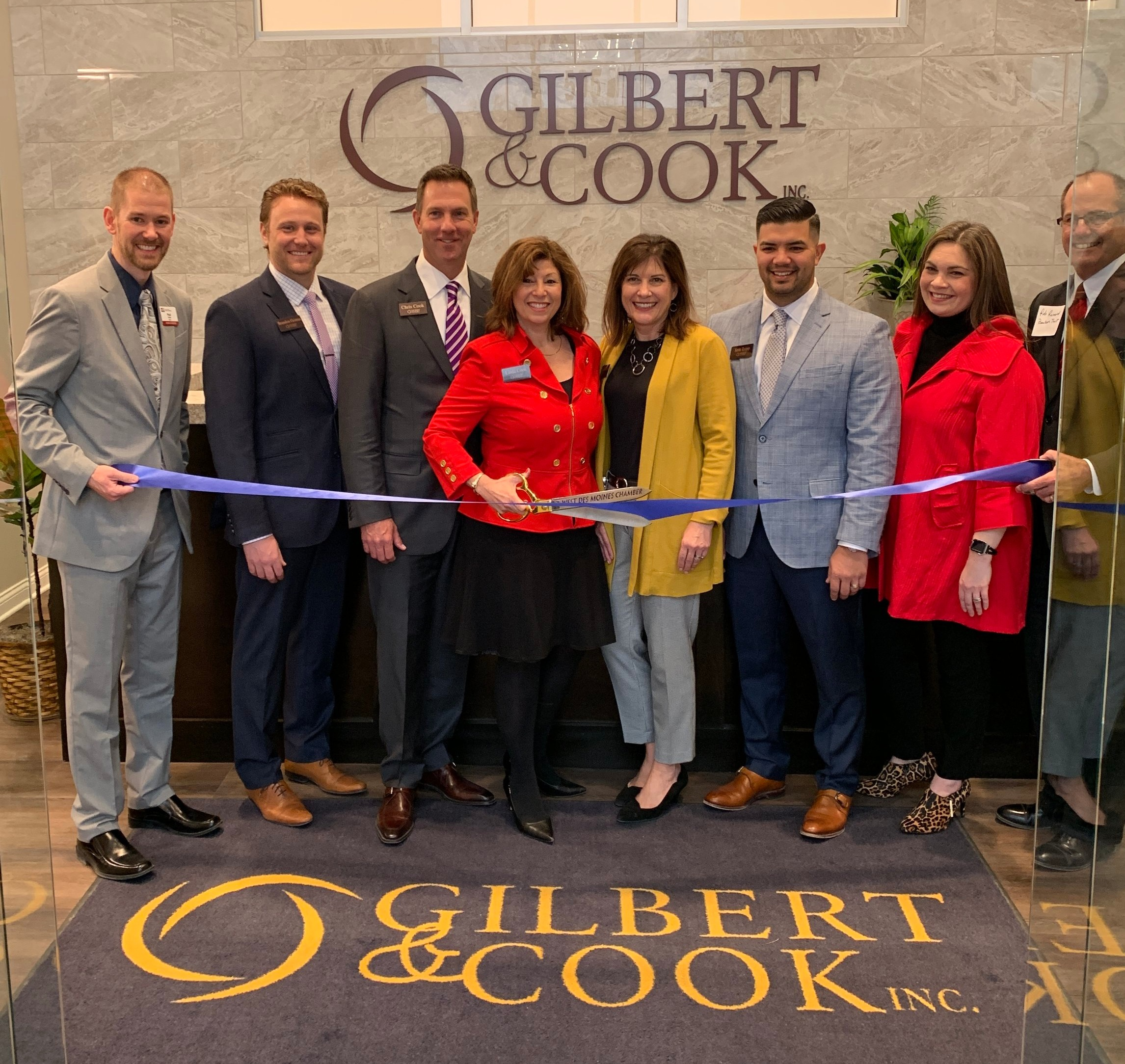Ribbon Cutting Ceremony with the West Des Moines Chamber of Commerce.  Gilbert & Cook Partners: Brandon Grimm, Chris Cook, Linda Cook, Marlis Gilbert, Jerit Tripp & Megan Rosenstiel
