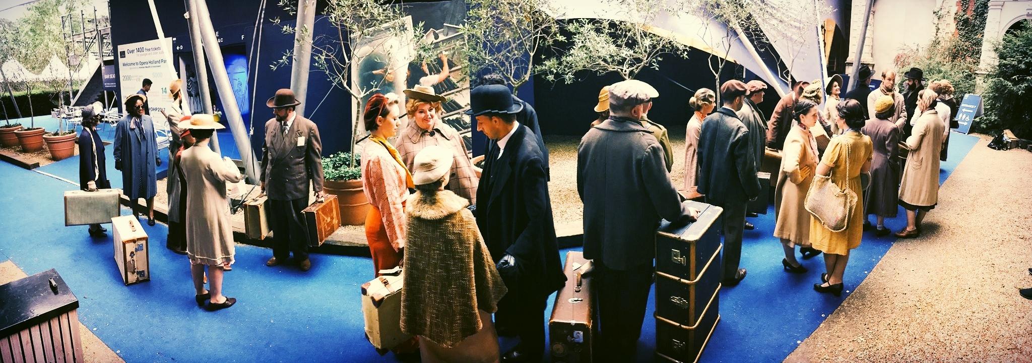 The cast prepares to board the Don Giovanni boat...