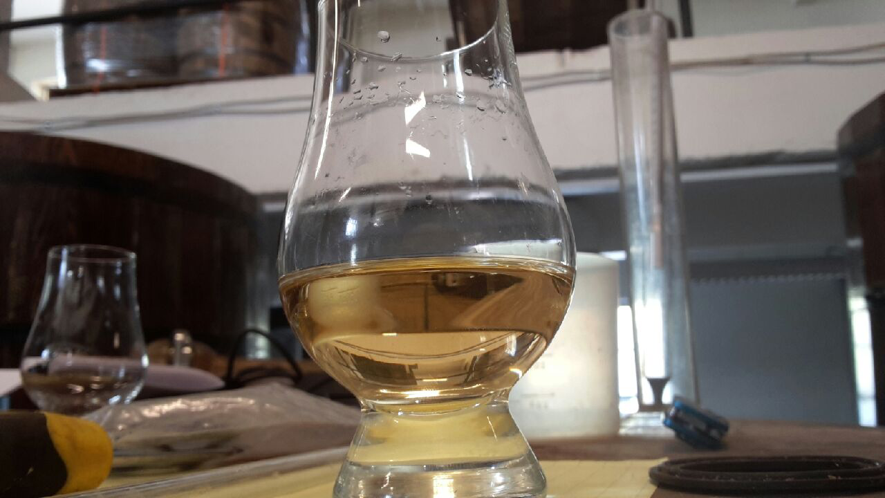 June 21, 2016   The Baltimore Whiskey Company's rye whiskey at 2.5 months old is already a beautiful amber/straw color, with a bodacious sweetness, and a dose of pumpernickel bread on the nose. She is young though, and still has a little too much of the raw moonshine qualities about her. She won't debut to the world until at least 2018 when she'll be a Straight Rye Whiskey.