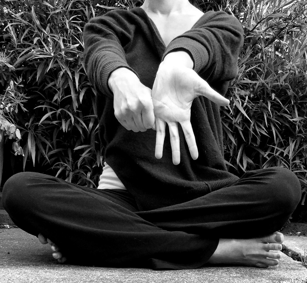 At the beginning of every Forrest Yoga class, wrist stretches (like this) are done to decompress the joints, stretch the hand and forearm and warm up the wrist for weight bearing.