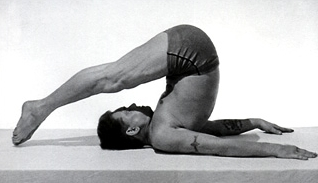"Joseph Pilates as seen on the cover of his book ""Return to Life Through Contrology."""