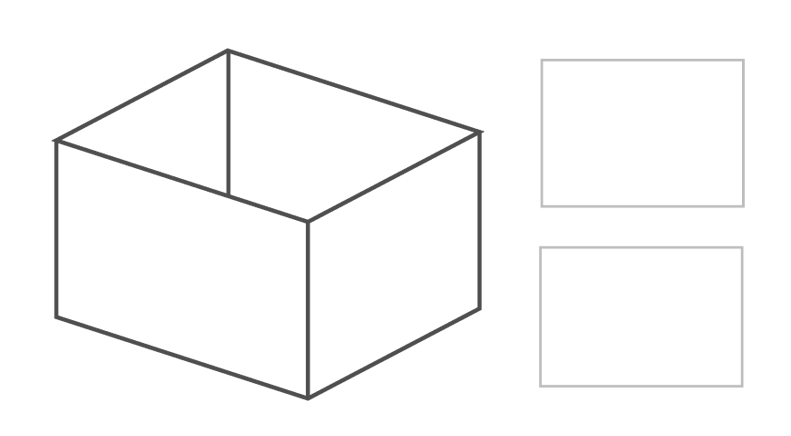 Rectangle shape with straight angles.