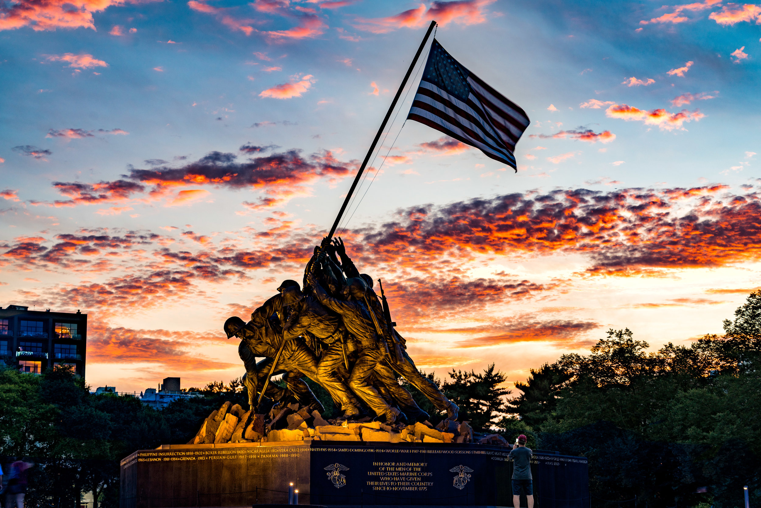 US Marine Corps War Memorial aka Iwo Jima Memorial at sunset