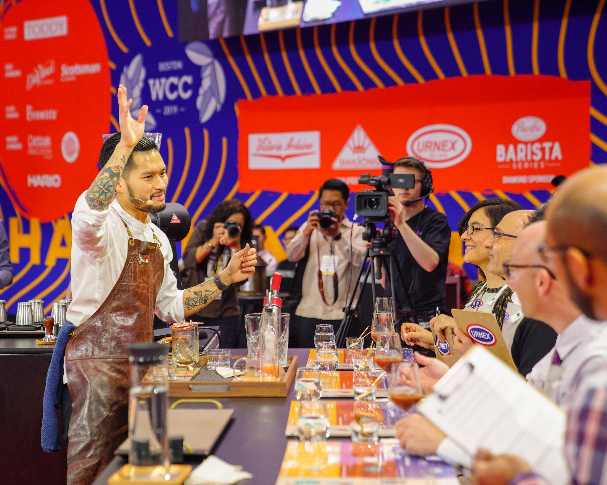 Mikael Jasin dari Common Grounds Coffee Roaster Jakarta meraih juara ke-4 World Barista Championship. Photo:  World Coffee Events