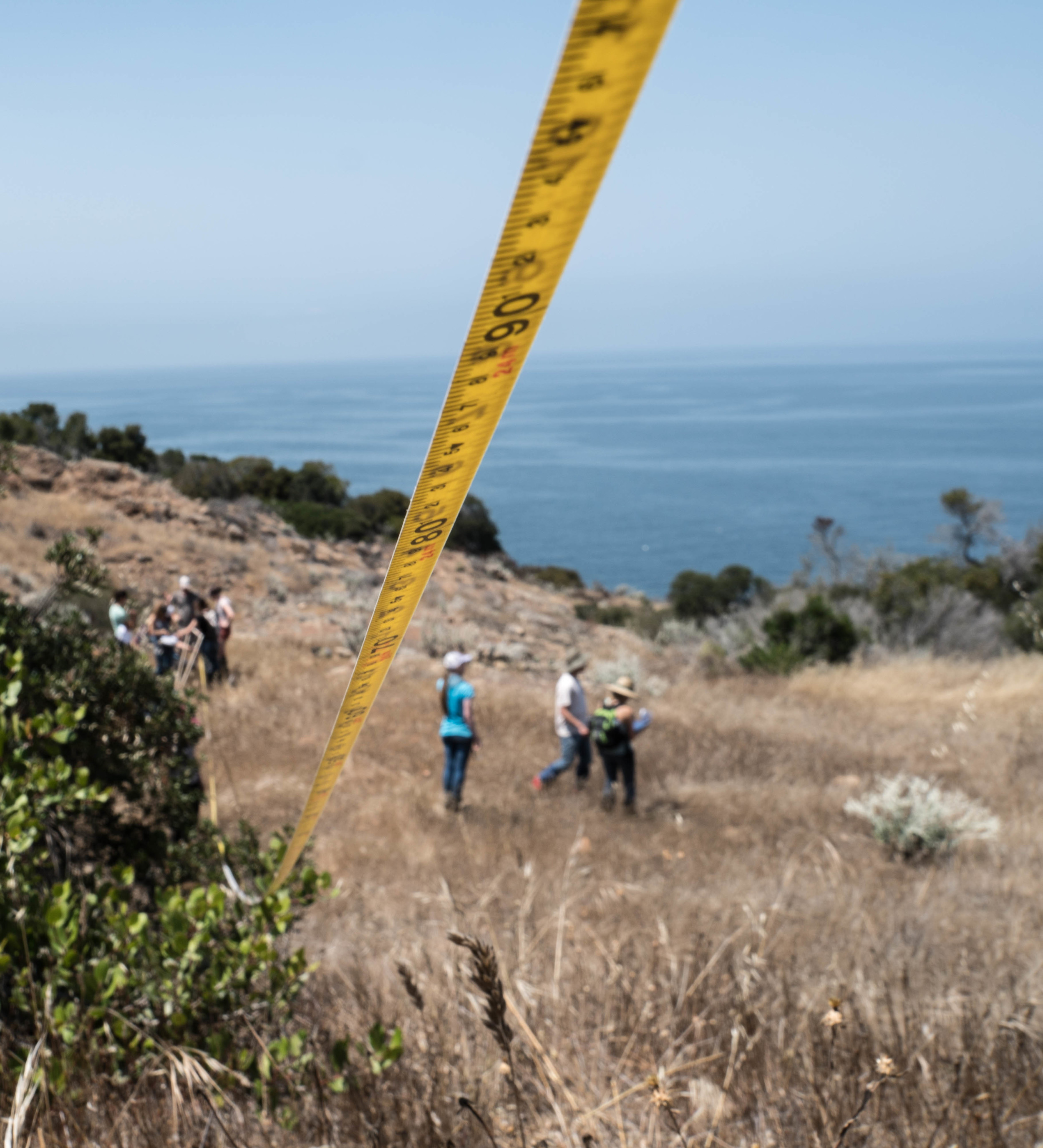 Working to understand the balance. Trail to Pelican Bay, Santa Cruz Island, CA.
