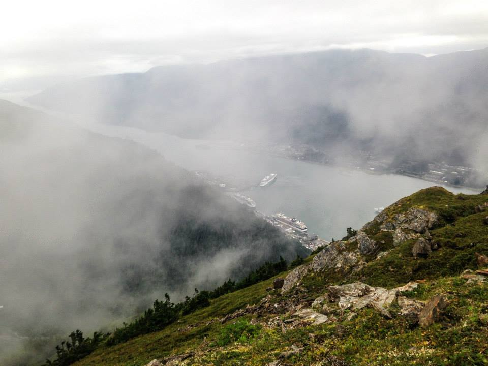 """On the rim of the """"funnel"""" in 2014. Mt. Juneau, Alaska."""