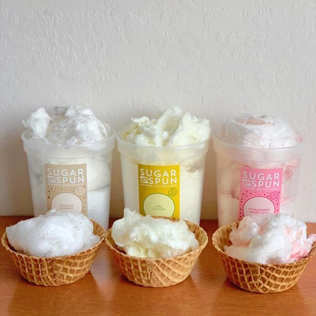 Straight from the tub, in a cone, or in a waffle bowl, our gourmet cotton candy tastes great!  photo cred: @kerrywantsmore  #cookiesandcream #pinacolada #strawberryshortcake #sugarandspun