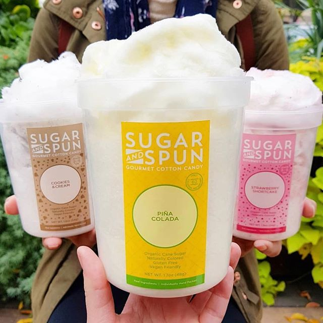 Get up close and personal with our gourmet cotton candy. Tell us what your favorite flavors are in the comments below.  photo cred: @martiwantsmore  #pinacolada #cookiesandcream #strawberryshortcake #sugarandspun