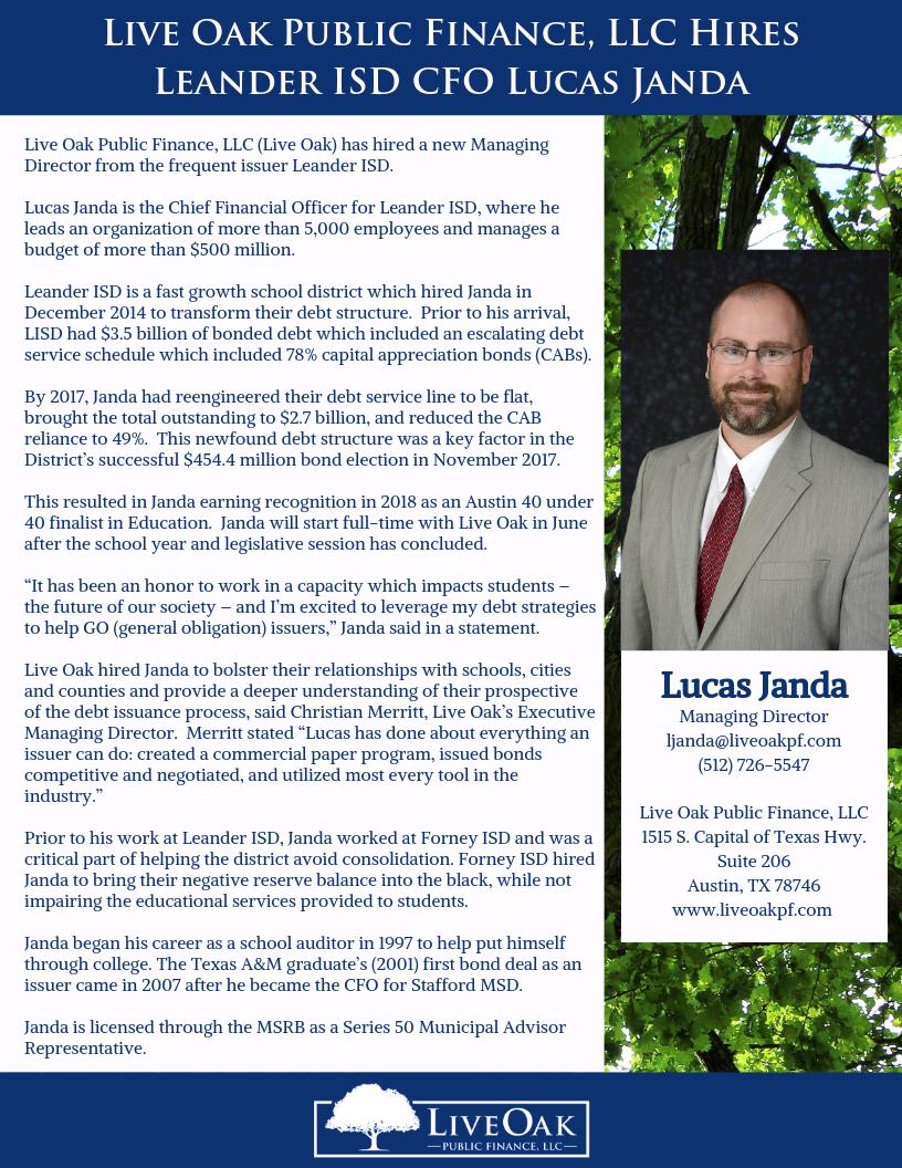 V2 Live Oak Public Finance, LLC hires Leander ISD CFO Lucas Janda.png