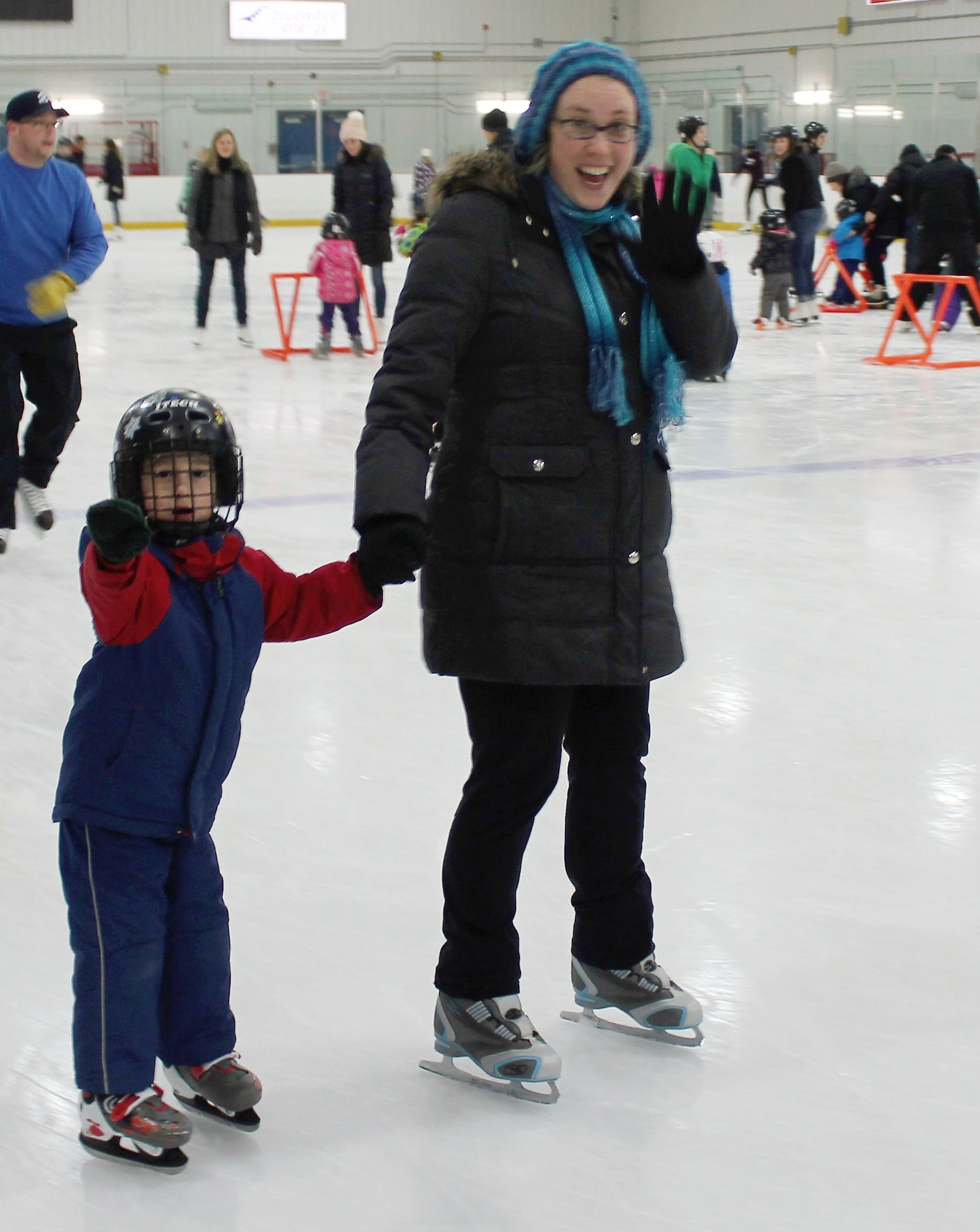 McKinley with Mom, Marianne practicing skating with no pusher. Way to go Mckinley