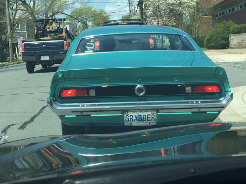 "This plate was recently spotted in HRM. Will the owner of the ""GRABBER"" plate find themselves in the same boat as Mr. Grabher? Photo credit: Peter Twohig."