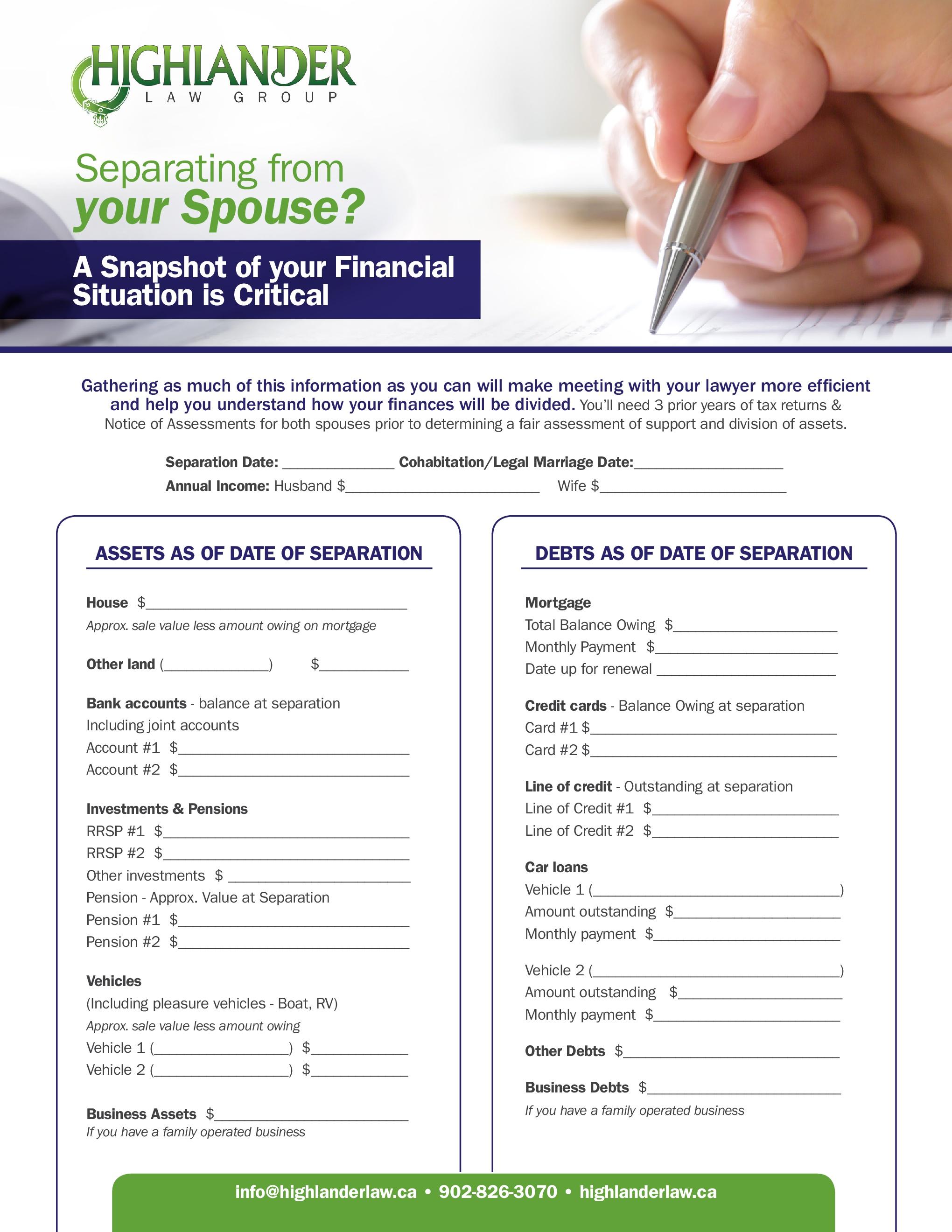 Financial Snapshot checklist preparing to divorce or separate