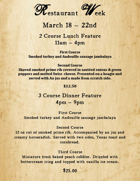 Sheboygan Restaurant Week March 18 - March 22nd.