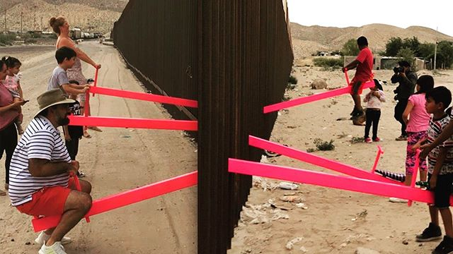 GLOBALL jumps every wall. #playtheworld #funtimes #borderwall #seesaw #connection #shareadventure