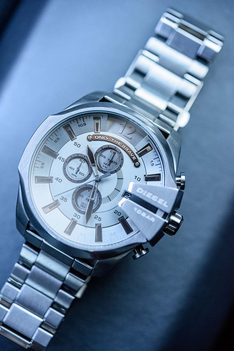 diesel watch still life in natural modern lifestyle setting