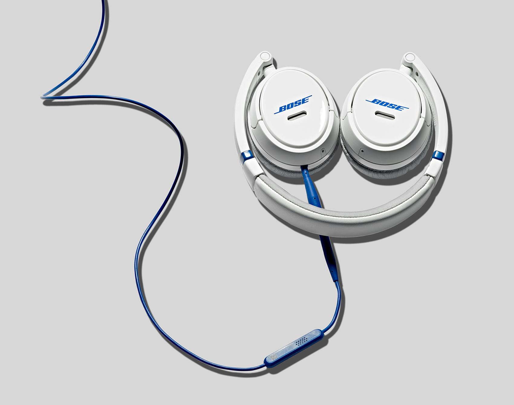 elegant tech still life of Bose headphones on grey background