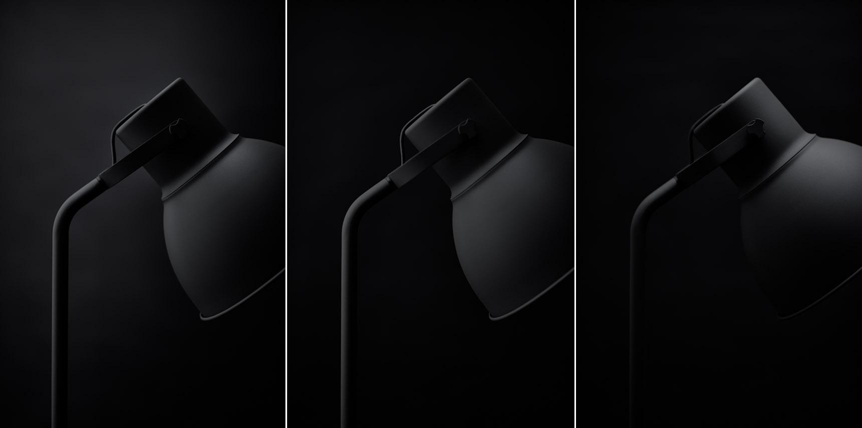 Dark grey lamps studio still life on a black background