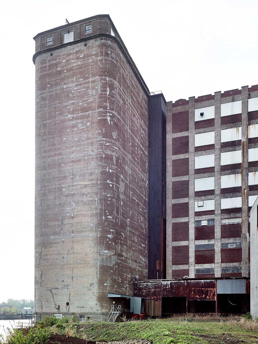 Abandoned Factory Silo City Lake and Rail Elevator