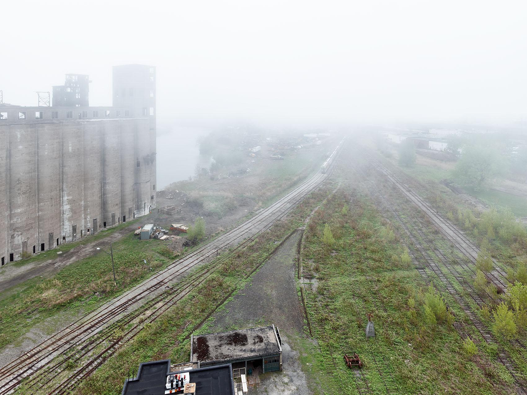 fog at abandoned factory Silo City ny