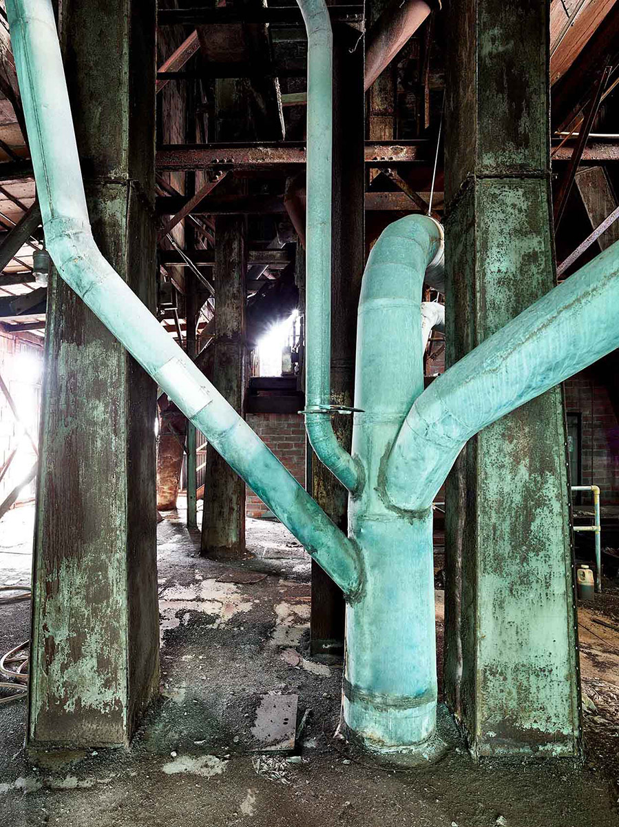 rusty pipes deserted Silo City American Elevator