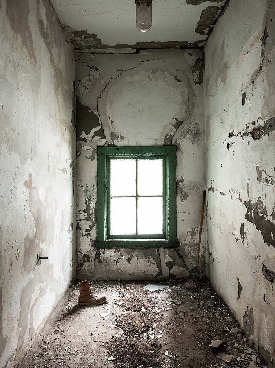 haunted Silo City Perot Malthouse window and old shoe