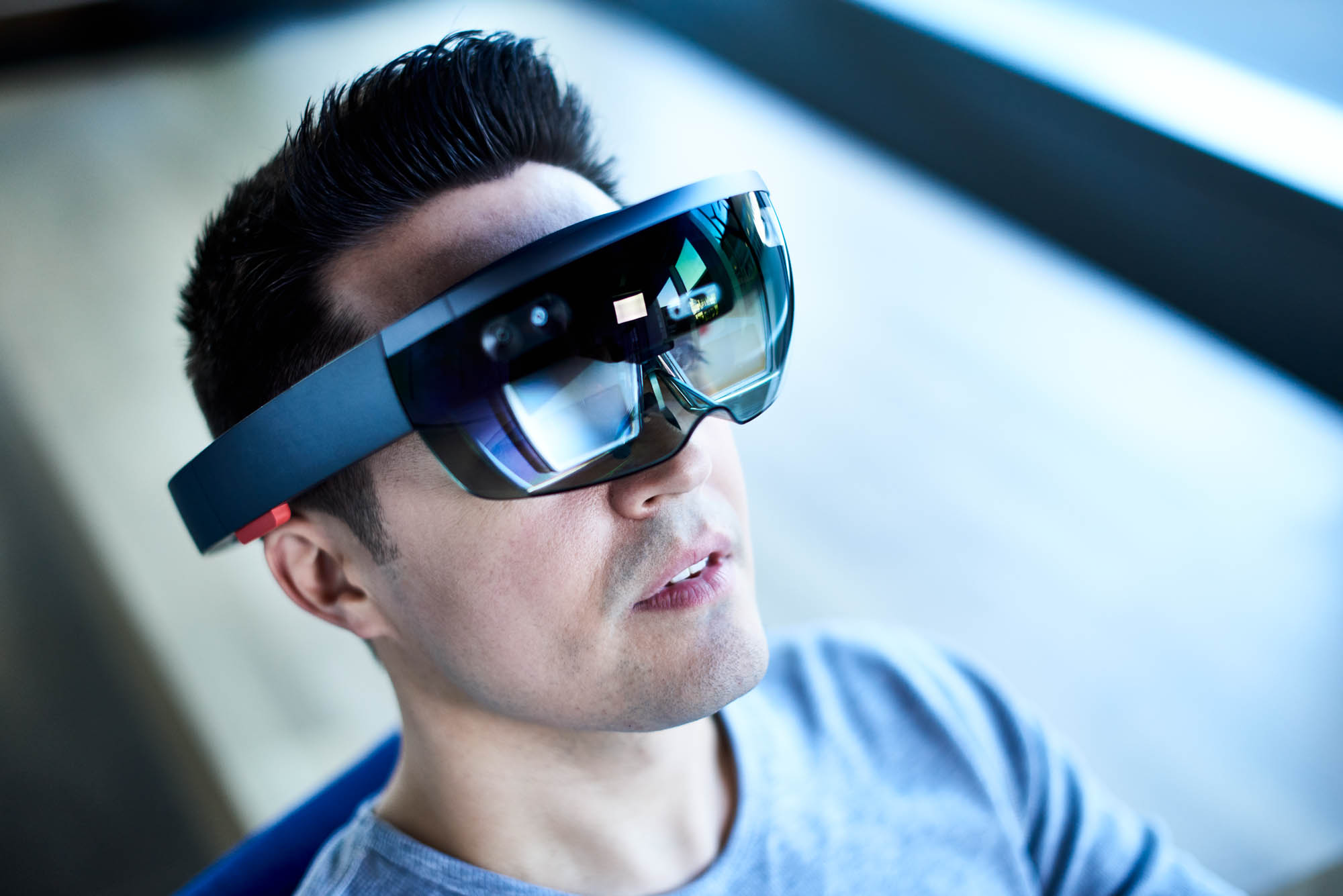 Man with virtual reality headset glasses on