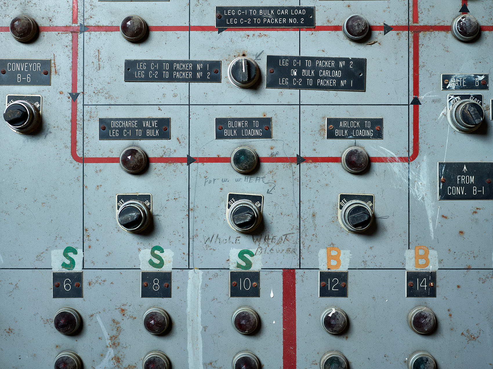 old analog industrial control panel silo city