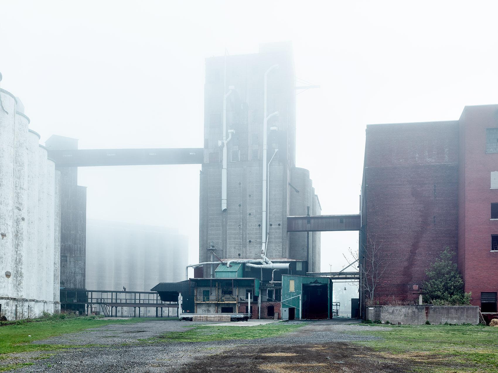 foggy industrial architecture  silo city exterior buffalo ny